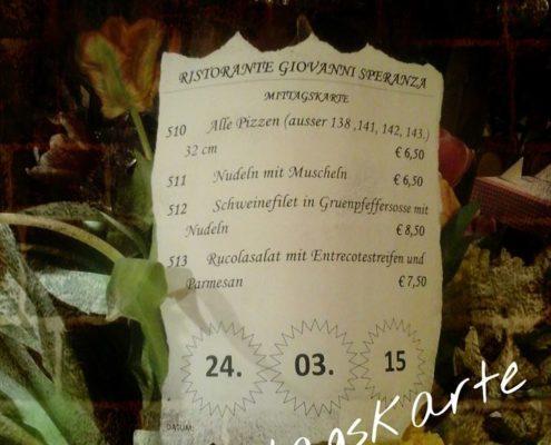 Mittagskarte bei Restaurant Speranza